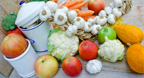 Organic fruits and vegetables Stock Photos