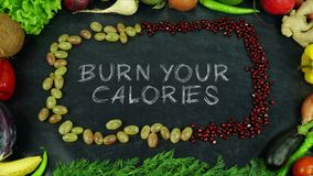 Burn your calories fruit stop motion. Organic fruits and vegetables for all seasons and for healthy life Royalty Free Stock Image