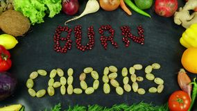 Burn calories fruit stop motion. Organic fruits and vegetables for all seasons and for healthy life on the hand Royalty Free Stock Photo