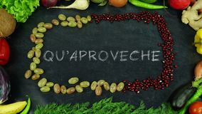 Quaproveche Asturian fruit stop motion, in English Bon appetit royalty free stock photo