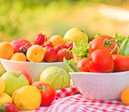 Organic fruits and vegetables - close up Stock Image