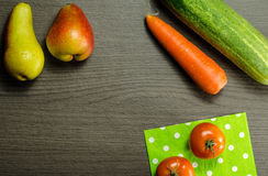 Organic Fruits and Vegetables. Colorful Fruits and Vegetables on a Table. Placed on corners Royalty Free Stock Photo