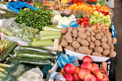 Organic fruits and vegetables on farmers market Stock Photo