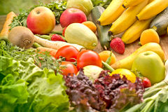 Organic fruits and vegetables Stock Image