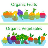 Organic fruits and vegetables web banners Stock Photos