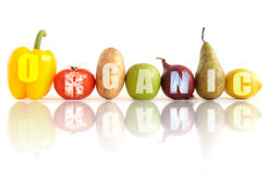 Organic fruits and vegetables Stock Images