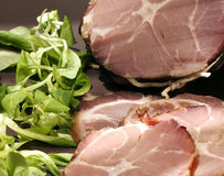 Organic gammon ham with sandwich and salad on plate Stock Photo