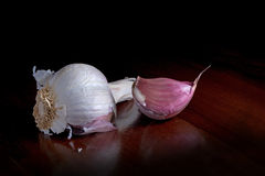Organic garlic on a dark table, copy space Stock Photo