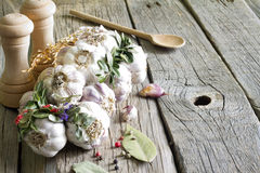 Organic garlic in the kitchen on the wooden table Royalty Free Stock Image