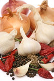 Organic garlic and onion Royalty Free Stock Photography
