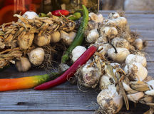 Organic garlic,peppers,pickle jars Stock Image