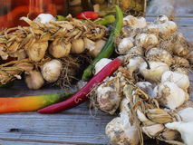 Organic garlic,peppers,pickle jars Stock Photo