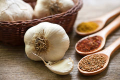 organic garlic and spices Royalty Free Stock Image
