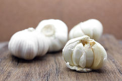 Organic garlic whole and cloves Stock Photo