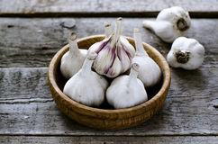Organic garlic in a wooden bowl on the wooden table. Organic fresh garlic in a wooden bowl on the wooden table Royalty Free Stock Photo