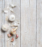 Organic garlic on wooden table Royalty Free Stock Photography