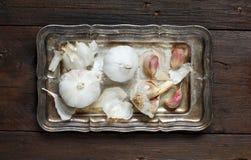 Organic garlic on wooden table Royalty Free Stock Photos
