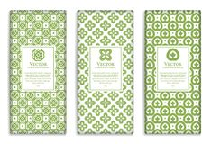 Organic geometric vector set of green and white packaging design. Great green patterns for invitation, flyer, menu, brochure, postcard, background, wallpaper Stock Photography