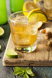 Organic Ginger Ale Soda. In a Glass with Lemon and Lime royalty free stock photo