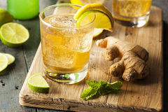 Organic Ginger Ale Soda. In a Glass with Lemon and Lime Stock Images