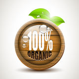 100% organic. Glossy wooden icon vector illustration