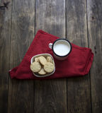 Organic, gluten free sugar cookies with milk Stock Images