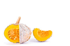 Organic golden pumpkin squash slices with seeds on white background healthy  kabocha Vegetable food isolated Stock Photos