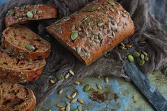 Organic grain bread with sunflower seeds and pumpkin seeds Royalty Free Stock Photos