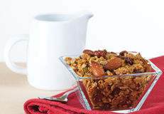Organic Granola In Glass Bowl Royalty Free Stock Images