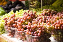 Organic grapes on display at the sf farmer's market Stock Photo