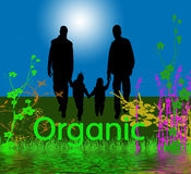 Organic Graphic with Family. Organic graphic with a family of four, plants and flowers. Nature and ecology concepts Stock Image