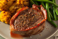 Organic Grass Fed Bacon Wrapped Sirloin Steak Royalty Free Stock Image