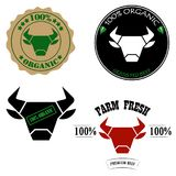 100% organic, grass fed, fresh farm, premium beef logos or labels with bull or cow head. Vector illustration. Design stock illustration