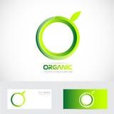 Organic green apple logo Royalty Free Stock Image