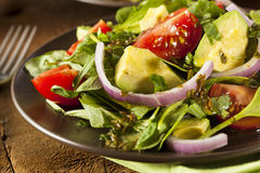 Organic Green Avacado and Tomato Salad. With Onions Stock Photos