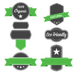 Organic Green badge labels. Stock Photos