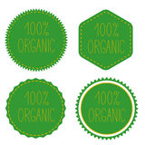 100% organic. Green badges, stickers, logo, stamp. Royalty Free Stock Images