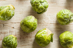Organic Green Brussel Sprouts. Ready to Cook Stock Photo