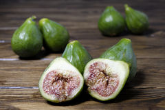 Organic green figs fresh cut Stock Photography