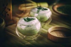 Organic green matcha tea. In a glass bowl Royalty Free Stock Image