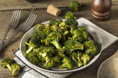 Organic Green Roasted Broccoli Florets. With Garlic Royalty Free Stock Image