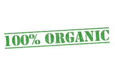 100% ORGANIC. Green rubber stamp over a white background stock illustration
