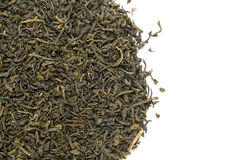 Organic Green Tea (Camellia sinensis) dried long leaves. Royalty Free Stock Images
