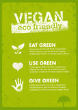 Organic Green Vegan Illustration. Creative Nature Friendly Eco Vector Concept on Recycled Paper Background Royalty Free Stock Photos