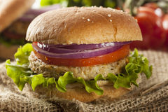 Organic Grilled Black Bean Burger Royalty Free Stock Photography