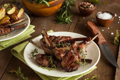 Organic Grilled Lamb Chops. With Garlic and Lime stock images