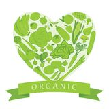 Organic Groceries. Abstract illustration with heart shaped organic groceries Stock Image
