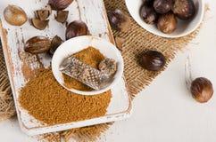 Organic ground  Nutmeg Royalty Free Stock Images