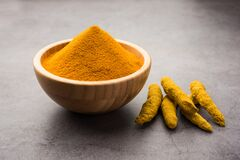 Free Organic Haldi Or Turmeric Powder Spice Pile In A Bowl With Whole, Selective Focus Stock Image - 191159061