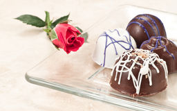 Organic hand crafted chocolate and rose Royalty Free Stock Images